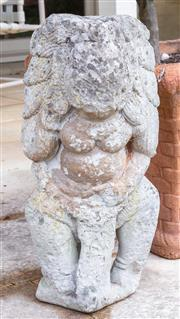 Sale 8550H - Lot 229 - A cement elaborately decorated Indian female statue, H 54cm