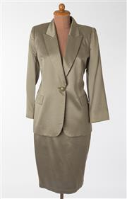 Sale 8550F - Lot 58 - A 100% silk George Gross two piece suit in olive green pinstripe, size 14.