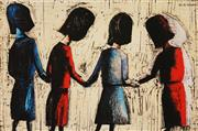 Sale 8583A - Lot 5048 - Charles Blackman (1928 - ) - Four Schoolgirls 28.5 x 43cm (frame: 52 x 64cm)