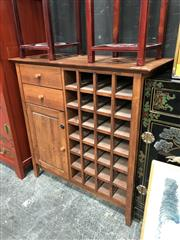 Sale 8854 - Lot 1015 - Timber Drinks Cabinet with Two Drawers, Door Wine Racks & Glass Rack
