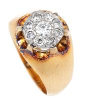 Sale 8915 - Lot 376 - A VINTAGE 18CT GOLD DIAMOND CLUSTER RING; belcher set with a later white gold illusion set cluster of 9 round brilliant cut diamonds...