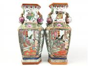 Sale 8995H - Lot 9 - A pair of famille verte vases, each height 36cm