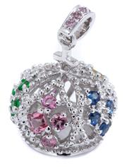 Sale 8937 - Lot 443 - AN 18CT WHITE GOLD GEMSTONE CROWN PENDANT; set with 5 clusters of blue, pink, green and yellow round and square cut sapphires to bal...
