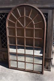 Sale 9087H - Lot 205 - A steel framed garden mirror with aged rust patina. 1.8m height, 1.05m width