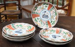 Sale 9120H - Lot 201 - A set of six scalloped edge Japanese hand painted dishes, featuring cranes and trees, Diameter 21.5cm  one chipped