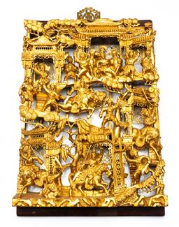 Sale 9211 - Lot 19 - A Well Carved Chinese Gilded Panel (47cm x 30cm)