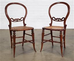 Sale 9240 - Lot 1014 - Pair of Victorian Walnut Chairs with Caned Seats (one seat damaged cane)