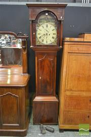 Sale 8267 - Lot 1035 - Regency Inlaid Mahogany Longcase Clock, the dial signed Rennison & Son, North Shields, painted with bucolic scenes, having two train...