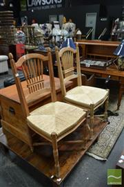 Sale 8499 - Lot 1636 - Pair of Monet Style Dining Chairs with Rush Seat