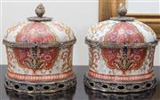 Sale 8562A - Lot 172 - A pair of ceramic painted lidded boxes with metal mounts, and foliate designs, H 25cm TO DO clothes, bags, office, kitchen, laundry,...