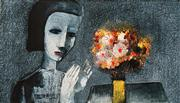 Sale 8592A - Lot 5012 - Charles Blackman (1928 - ) - Girl With Flowers 24 x 43.5cm (image), 52 x 64cm (frame)