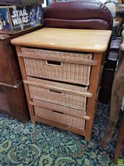 Sale 8593 - Lot 1078 - Three Wicker Drawer Bedside