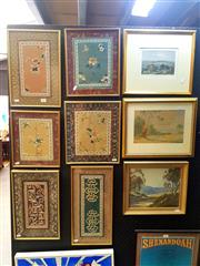 Sale 8668 - Lot 2026 - Group of (6) Framed Chinese Silk Embroideries, plus (3) Original Artworks