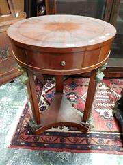 Sale 8714 - Lot 1043 - Empire Style Mahogany Round Side Table, with brass & marble caryatid supports