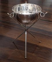 Sale 8782A - Lot 96 - Floor standing silver plated champagne cooler with integral stand in the empire style. 66 x 40cm