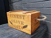Sale 8962 - Lot 1007 - Timber Olive Box with Lid and Rope Handles (H:20cm)