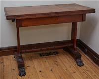 Sale 9080H - Lot 33 - A Victorian mahogany swivel top card table opening to reveal green baize lined interior, Height 76cm x Width 106cm x Folded top 53cm