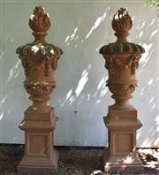 Sale 9087H - Lot 203 - A fine pair of GRC classical style urns on plinths. 2.4m height, base 56cm x 56cm