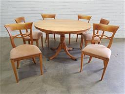 Sale 9134 - Lot 1539 - Round timber seven piece dining setting (table - h:76 x d:123cm)