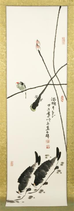 Sale 9144 - Lot 271 - Chinese ink painting of bird and fish among lotus (115cm x 33cm)