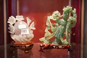 Sale 7962B - Lot 13 - Two Chinese Jadeitie Carvings one of a lady, the other of lotus design