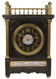 Sale 7978 - Lot 1 - Black Slate & Brass Mantle Clock