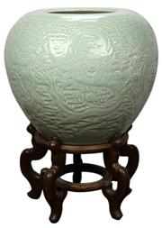 Sale 8079 - Lot 62 - Green Beans Glaze with Dragon Carved Vat