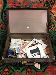 Sale 8539M - Lot 238 - Suitcase of Card Tricks including oversized cards, ESP cards, card houlettes etc. Dimensions of case 55 x 33cm
