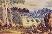 Sale 8606 - Lot 602 - Hermann Namatjira (1952 - 1979) - Central Australian Landscape 33.5 x 51.5cm