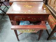 Sale 8728 - Lot 1020 - Georgian Style Mahogany & Painted Sewing Table, the hinged top with oval medallion of putti & guilloche band filled with roses, a dr...