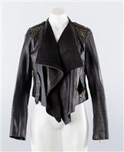Sale 8760F - Lot 56 - A black leather and suede cascading-lapel jacket with gold-toned hardware and studding by Lucette, size 1