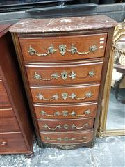 Sale 8831 - Lot 1035 - French Walnut and Brass Chest of 6 Drawers with Marble Top (key in office)