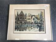 Sale 8964 - Lot 2064 - Artist Unknown A Scene of Prague colour etching and aquatint ed.114/150, 53 x 62cm (frame), signed