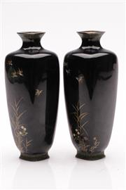 Sale 9057 - Lot 38 - Pair of enamelled silver bound bud vases (H16cm, one damaged to shoulder and the other towards to base)