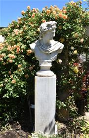 Sale 9087H - Lot 235 - A composition statue of Apollo on a plinth. 2m height