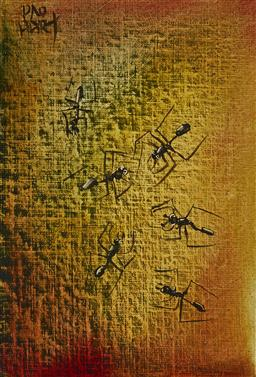 Sale 9195 - Lot 533 - KEVIN CHARLES (PRO) HART (1928 - 2006) Ants oil on book cover (painted on hard cover of signed copy of