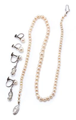 Sale 9177 - Lot 350 - A VINTAGE PEARL NECKLACE AND TWO PAIRS OF EARRINGS; graduated strand of 7-4mm round cultured pearls to silver clasp, length 44cm, 2...