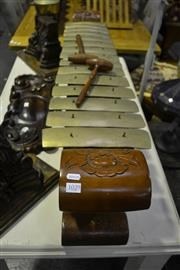Sale 8058 - Lot 1029 - Indonesian Brass Xylophone w/ Timber Base incl. 2 mallets