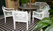 Sale 8080A - Lot 3 - White painted teak garden setting of a 2 seater bench and 5 armchairs