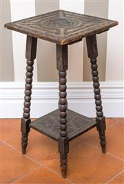 Sale 8222 - Lot 99 - A carved square top timber occasional table, with Jacobean style decoration, H 68cm Film Provenance; Australia, 2008