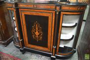 Sale 8291 - Lot 1008 - Victorian Burr Walnut & Marquetry Credenza, the centre door with urn motif, flanked by columns and bent glass doors (restored)