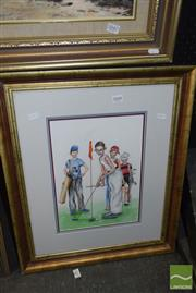 Sale 8509 - Lot 2048 - Greg Lipman (1938 - ), On the Green (After Norman Rockwell), gouache, 34 x 24cm, signed lower right