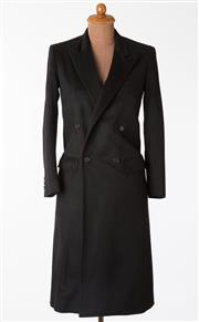 Sale 8550F - Lot 96 - An Italian made Vincci wool blend black over coat with lining, good condition, size S.