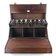 Sale 8567 - Lot 733 - Antique Australian Cedar Doctors Travelling Case with multiple hinged sections and compartments containing original medicinal bottles