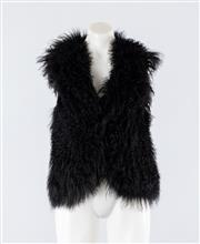 Sale 8760F - Lot 64 - A black fur sleeveless vest with silk lining by Lucette, size 2