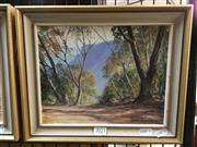 Sale 8776 - Lot 2023 - John Emmett - Narrow Neck from the OSullivan Track, Katoomba, oil on board, frame size: 26 x 31cm, signed lower right