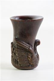 Sale 8940T - Lot 630 - Libation cup with swan carving to base, H10.5cm (chip to rim)