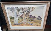 Sale 9024 - Lot 2082 - P. Hilliar Gumtrees and Hills 1965  watercolour, 53 x 67cm (frame) signed