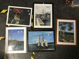 Sale 9118 - Lot 2060 - John Colbert ( 5 works) Maritime & Country Side Scenes acrylic on canvas board, frame: 44 x 34 each (approx), each signed -