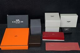 Sale 9254 - Lot 2099 - Collection of Empty Boxes incl Hermes, Gucci, Omega, Coach, Bentley, Piaget (soft pouch), Pierre Charriol